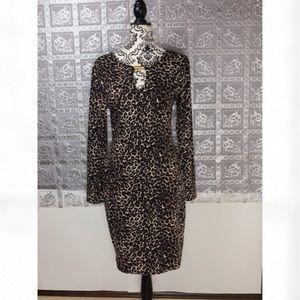 Blush Leopard Print Long Sleeve Elegant Dress